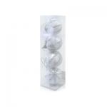 Шар бело-серебристый со стразами d6см 4шт/уп
